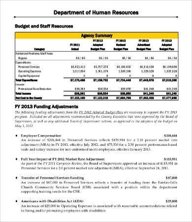 HR Department Budget Template , Departmental Budget ...