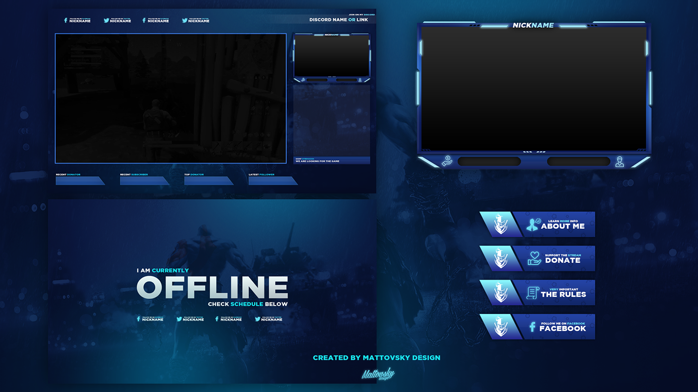 FREE TWITCH STREAM OVERLAY TEMPLATE 2018 #5 on Behance ...
