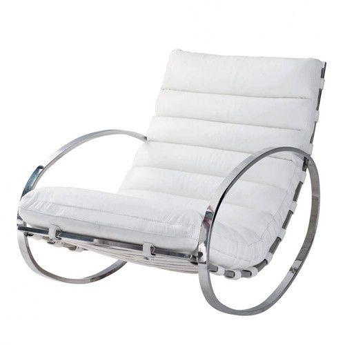 fauteuil à bascule en cuir blanc | designer | pinterest | cuir