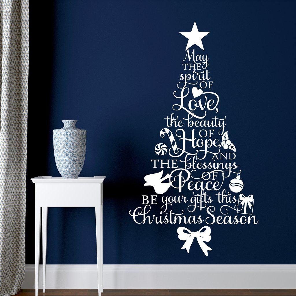Christmas Wall Decal Spirit Of Love Christmas Tree Shaped Words Christmas Wall Decal Wall Christmas Tree Holiday Wall Decor