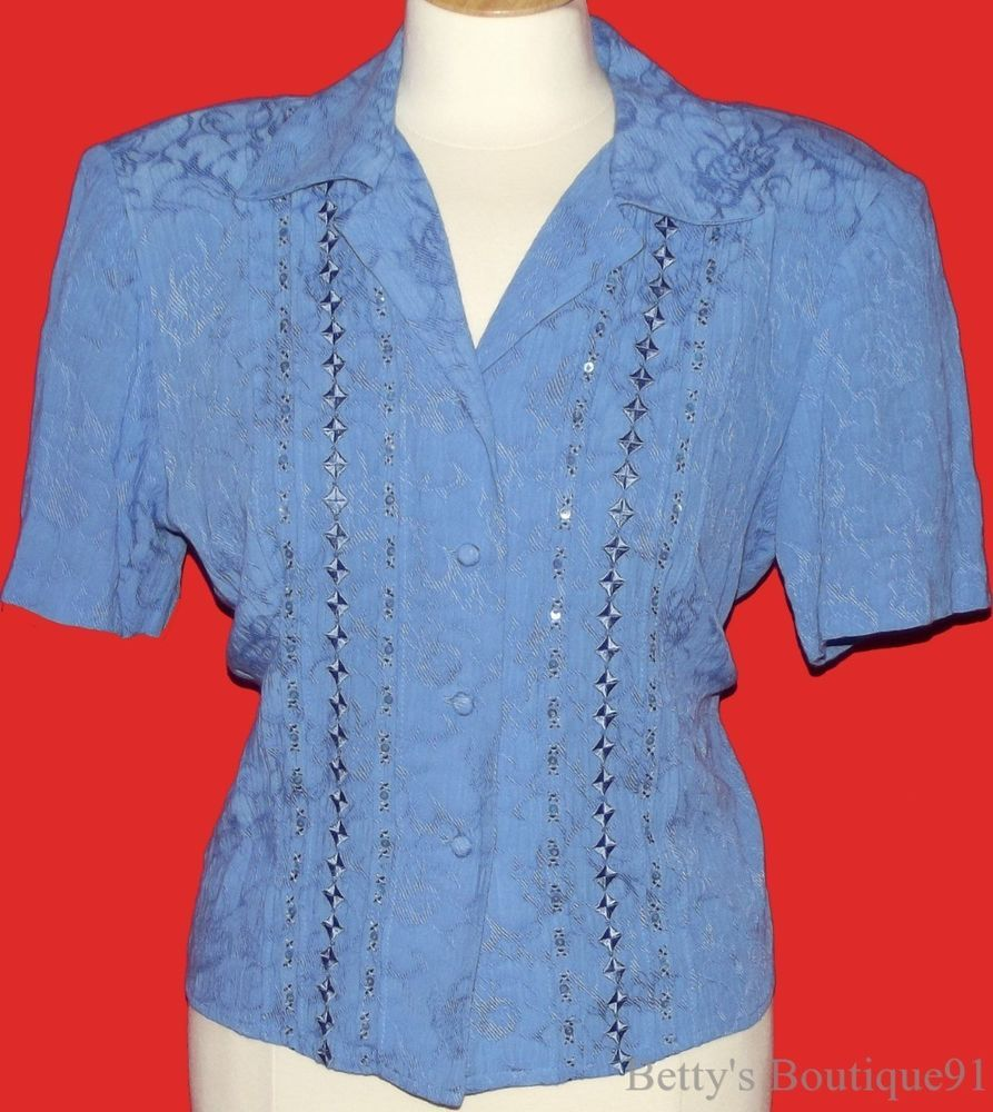 Size 12 Large DRESSBARN Cropped Top Pleated blue SEQUINS EMBROIDERED Dress Shirt #Dressbarn #ButtonDownShirt #Casual
