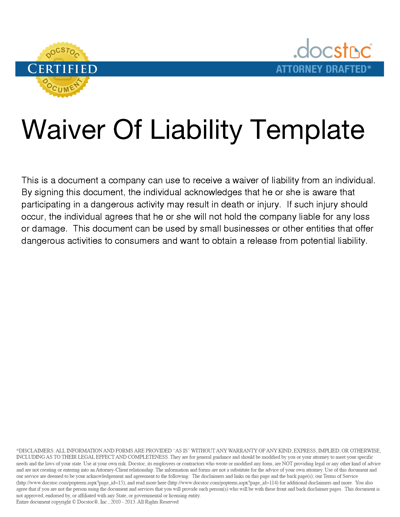 Png  Waiver Of Liability Sample  Legal Documents