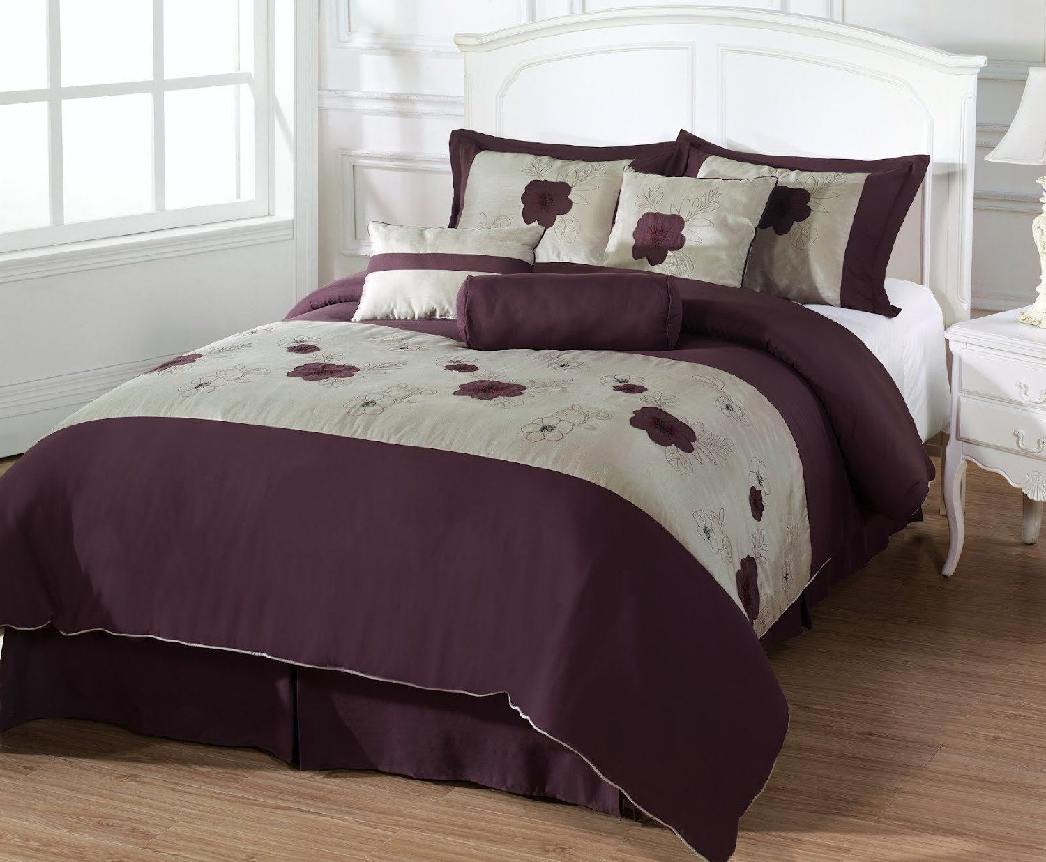Leila King Size 7 Piece Comforter Set Applique Embroidery Purple Flower Coffee Bed