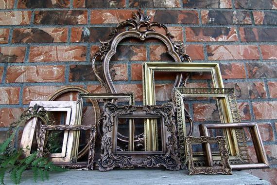 Set of 11 Open Frames - Gold, Copper, Bronze - Wall Gallery - Nursery - Wedding - Vintage Frames - Frame Set -Rustic Frames - Oval Frames #pictureplacemeant