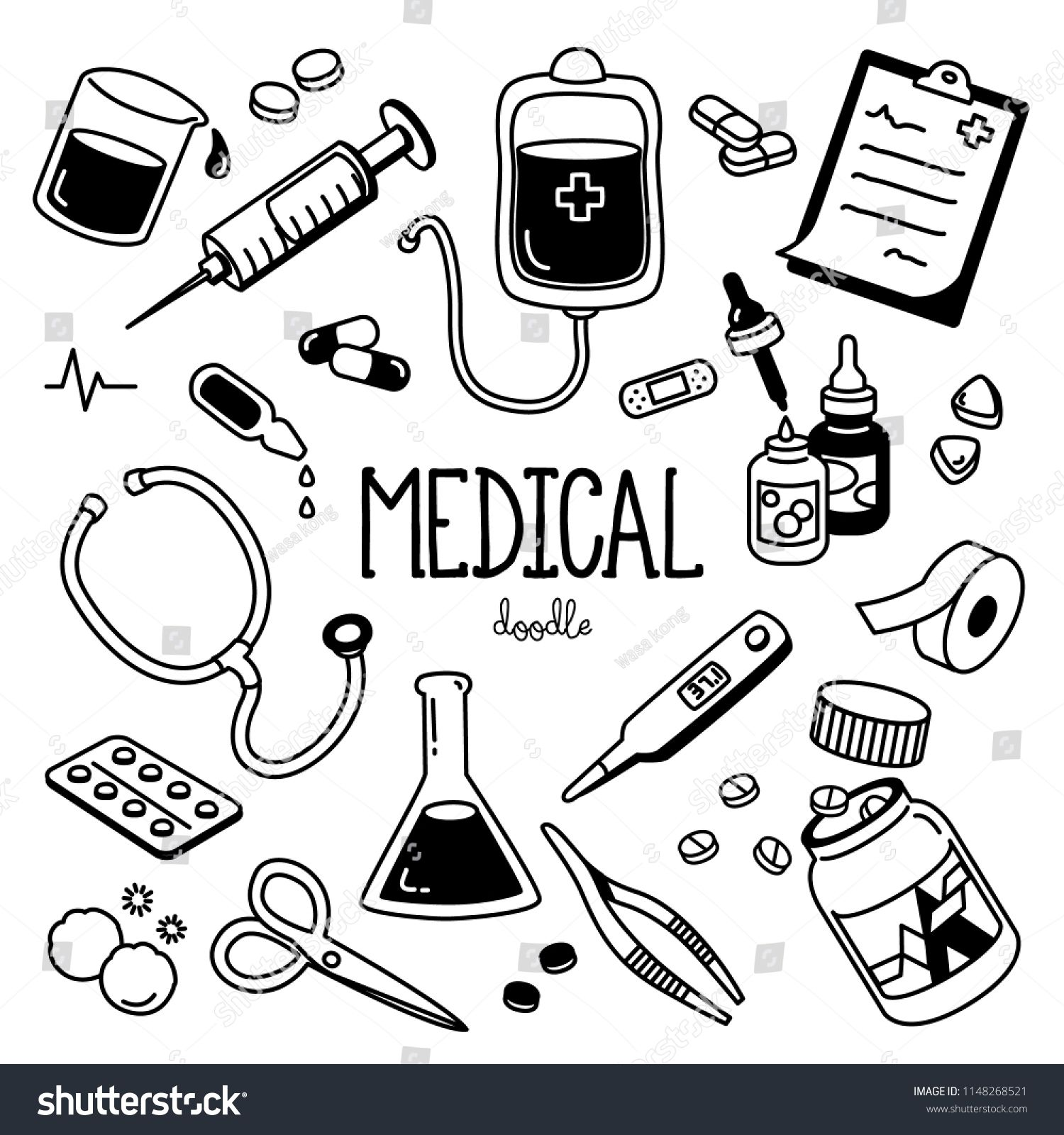 25+ Doctor Tools Clipart Black And White