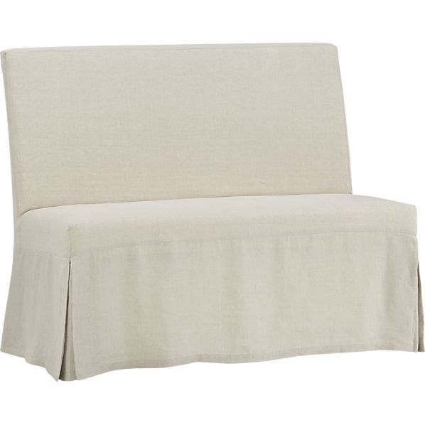 slip bench with linen slipcover in new dining u0026 crate and barrel