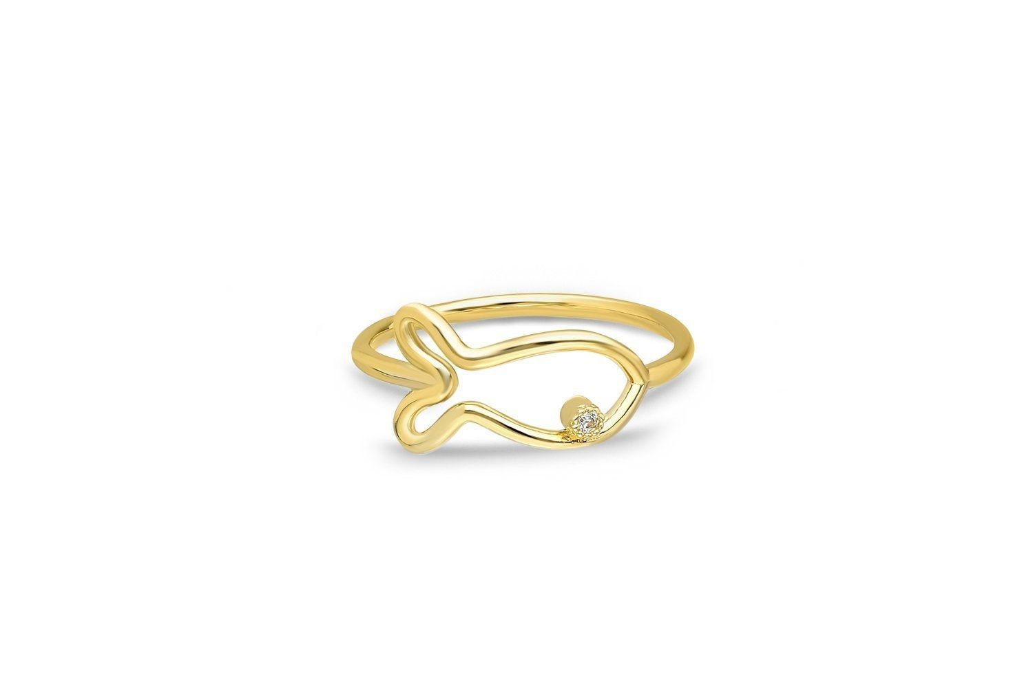 """""""Fish Ring for Women, Gold Fish Ring, Petite Dainty Gold Ring, 14k Solid Gold Ring, Gifts For Mom by Elyssa Jewelry ✨ Features o Gold KT: 14K Solid Gold (18K also available - there may be additional cost) o Available Gold Color: Yellow Gold, Rose Gold, White Gold o All items will be shipped with a special ELYSSA Jewelry box. o All items go through quality control by our team before shipping Ready to Ship in 7-10 Business Days 🎁 Each order will be shipped out to you with an ELYSSA Gift Box - For"""
