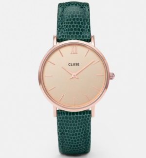 Ladies Cluse Minuit Rose Gold Champagne Emerald Lizard Watch CL30052  Citywest Jewellers 36a47144752dc