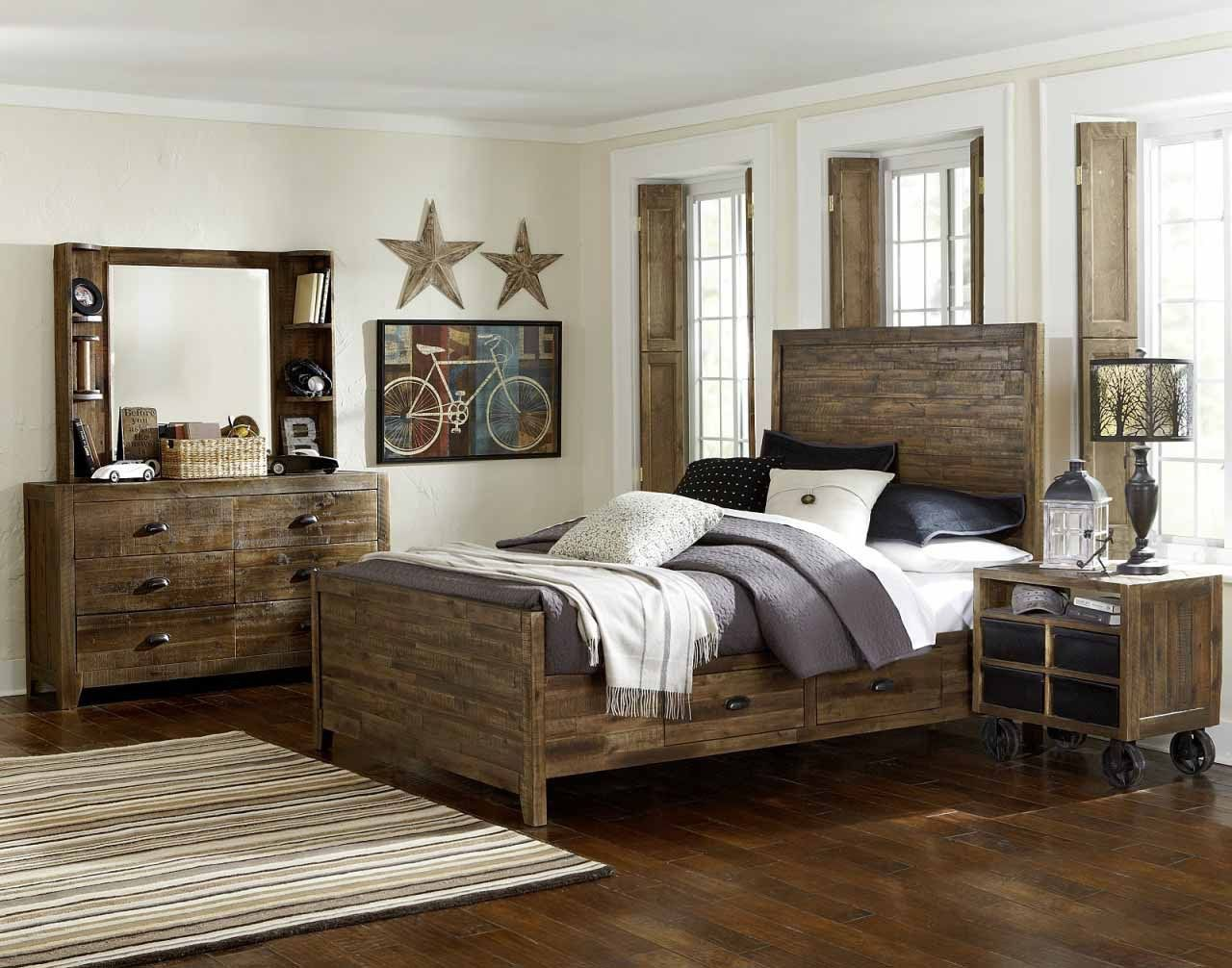 the country taste of distressed wood bedroom furniture