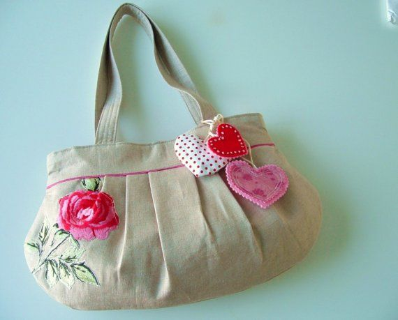 Rose and Hearts Bag por pinklemonadeboutique en Etsy