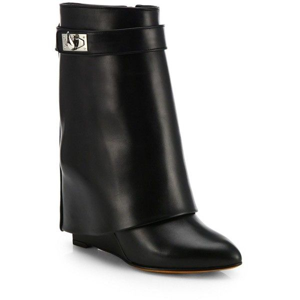 Givenchy Shark Lock Leather Pants Mid-Calf Wedge Boots (6.665 BRL) ❤ liked on Polyvore featuring shoes, boots, apparel & accessories, genuine leather boots, leather boots, wedge boots, mid calf wedge boots and givenchy