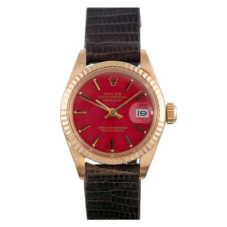 ROLEX Yellow Gold Red Stella Lady Datejust Wristwatch | From a unique collection of vintage wrist watches at http://www.1stdibs.com/jewelry/watches/wrist-watches/