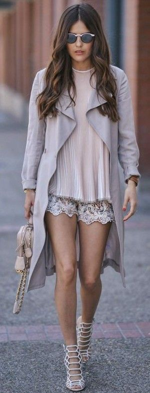 #summer #popular #outfitideas Pleated Neutral Top + Embroidered Lace Shorts