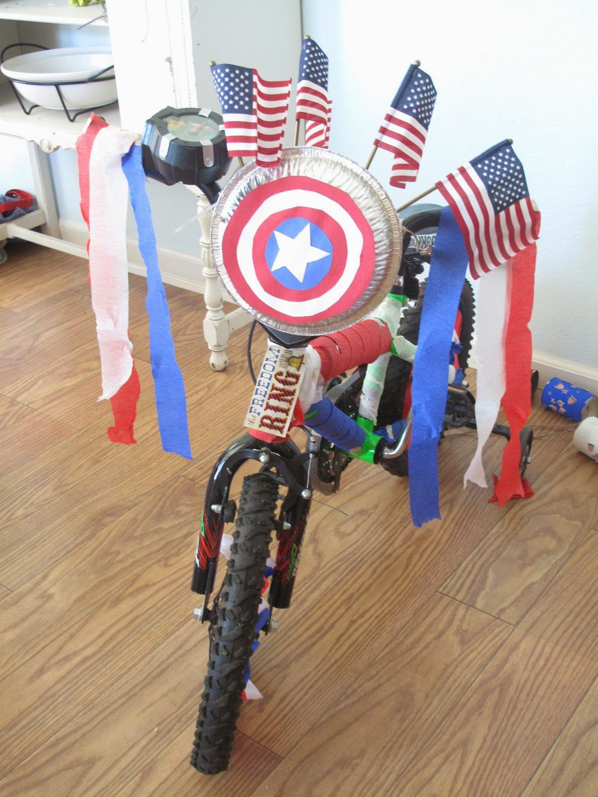 the little yellow house diaries: captain america bike decorating