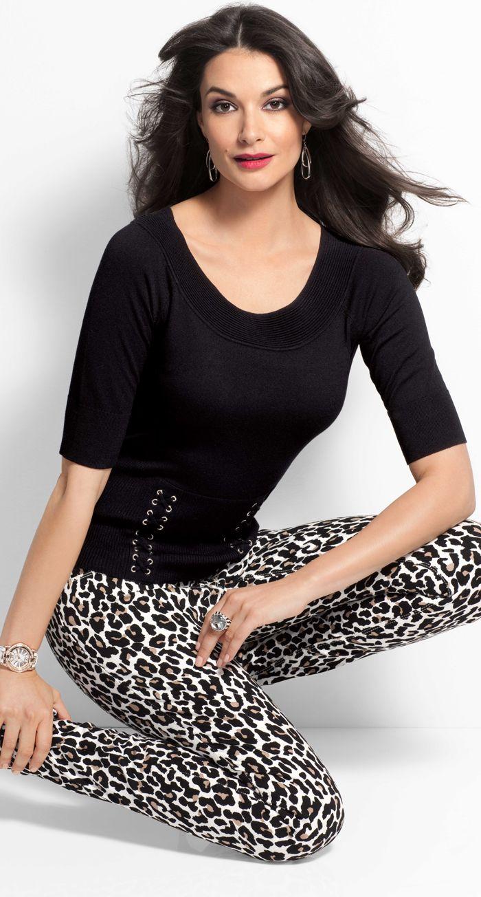 Lace Up Sweater & Leopard Print Jean