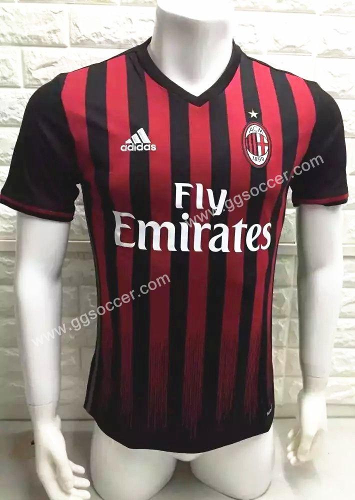 a9f2c6ee474b7 2016-17 AC Milan Home Red Black Thailand Soccer Jersey-AC Milan ...