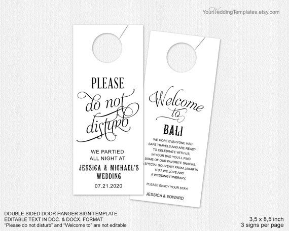 Do Not Disturb Door Hanger Wedding Door By Yourweddingtemplates