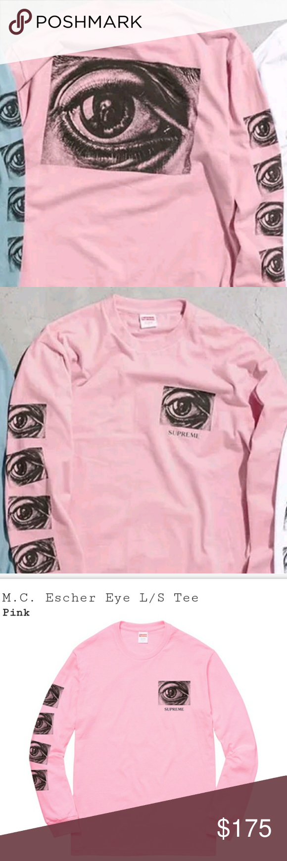 9beb839d2acc Supreme M. C. Escher Eye Long sleeve tshirt Brand new sealed In bag with 1  sticker and copy of receipt. Will bundle More listings going up XL Light  pink ...