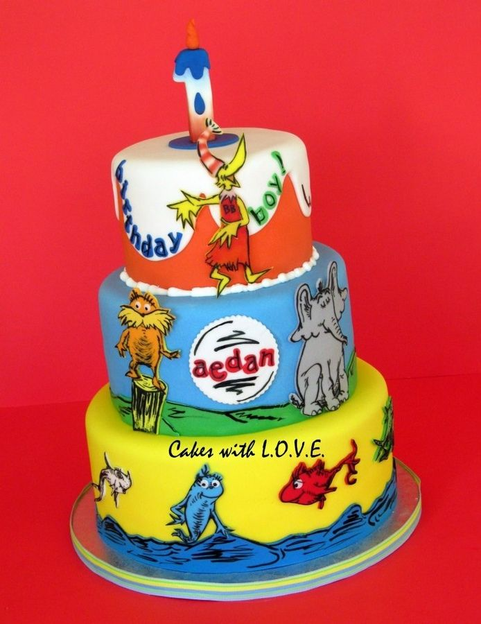 Dr Seuss Birthday Cakes   Hanpainted Dr. Seuss cake for a first year old