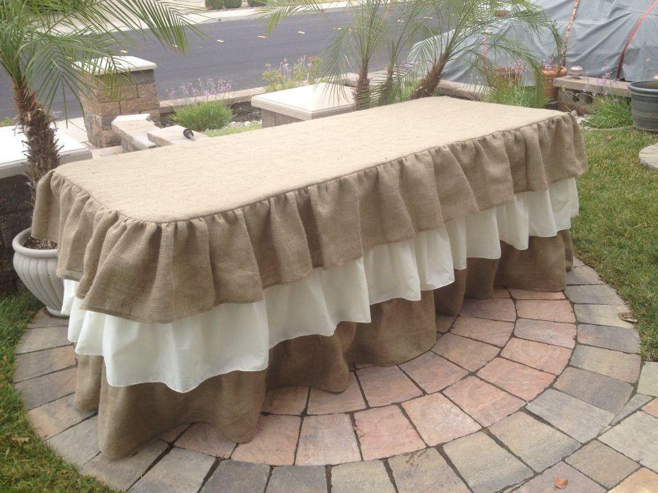 Ruffled Burlap Tablecloth U0026 Burlap Ruffled Table Skirt