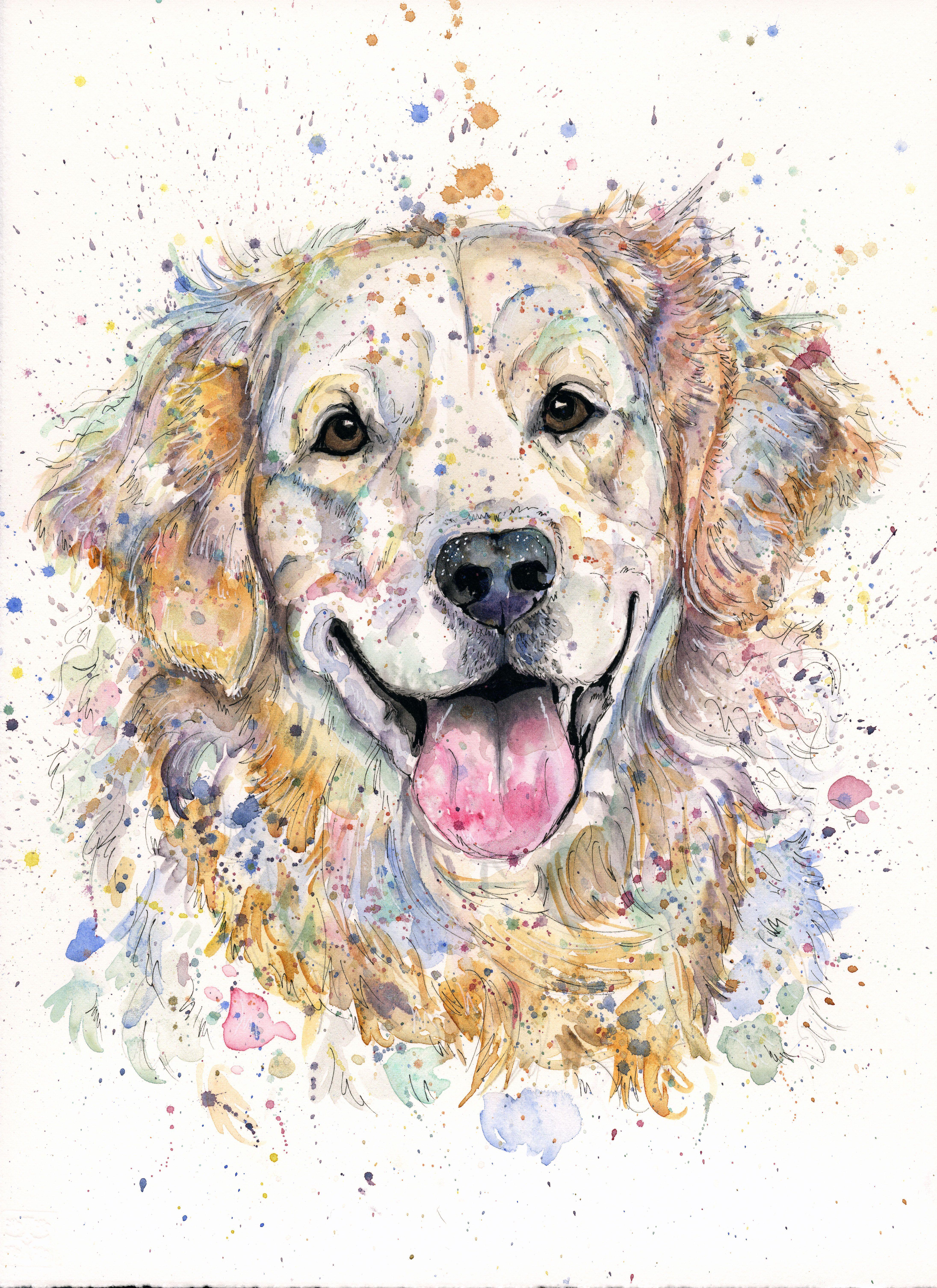 Golden Retriever Art Pet Portrait Custom Dog Art Bespoke