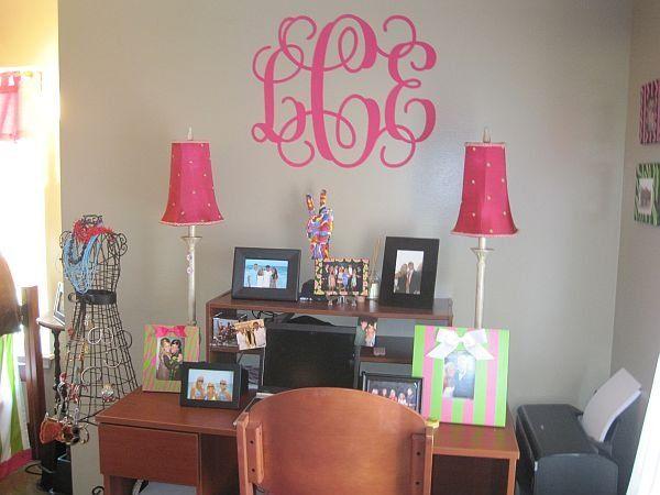 College Dorm Wall Decor preppy pink giant custom vinyl dorm wall monogram | dorm room