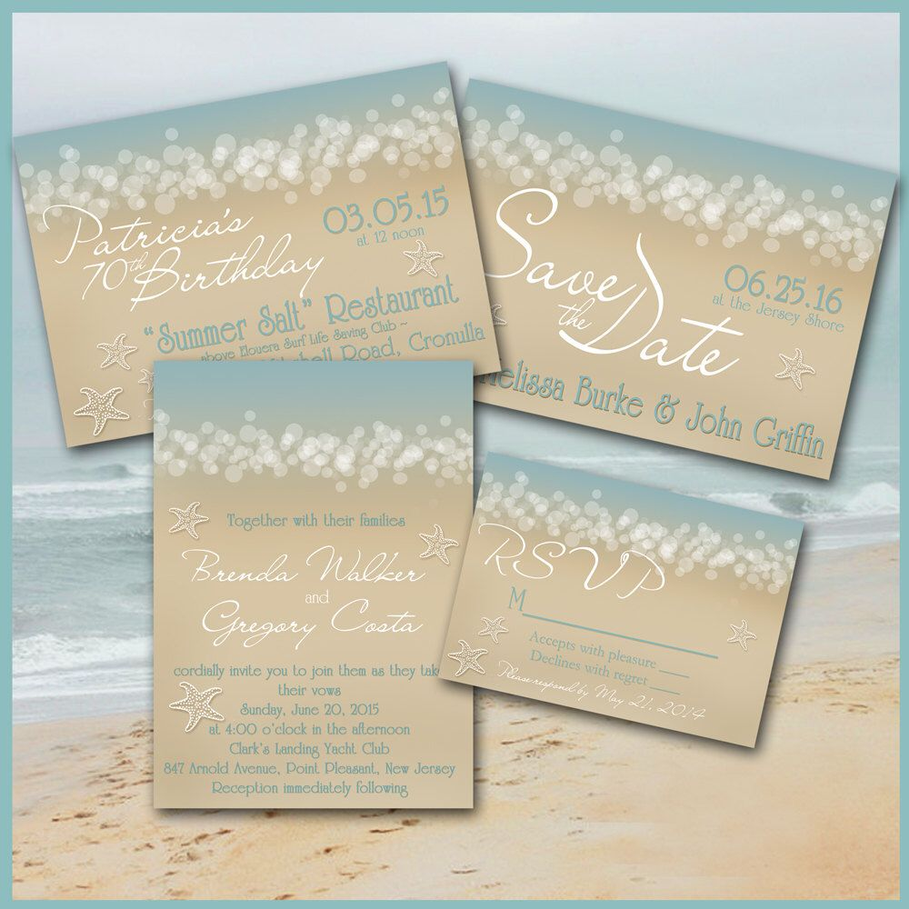 Beach INVITATION Wedding Engagement Save the Date Shower