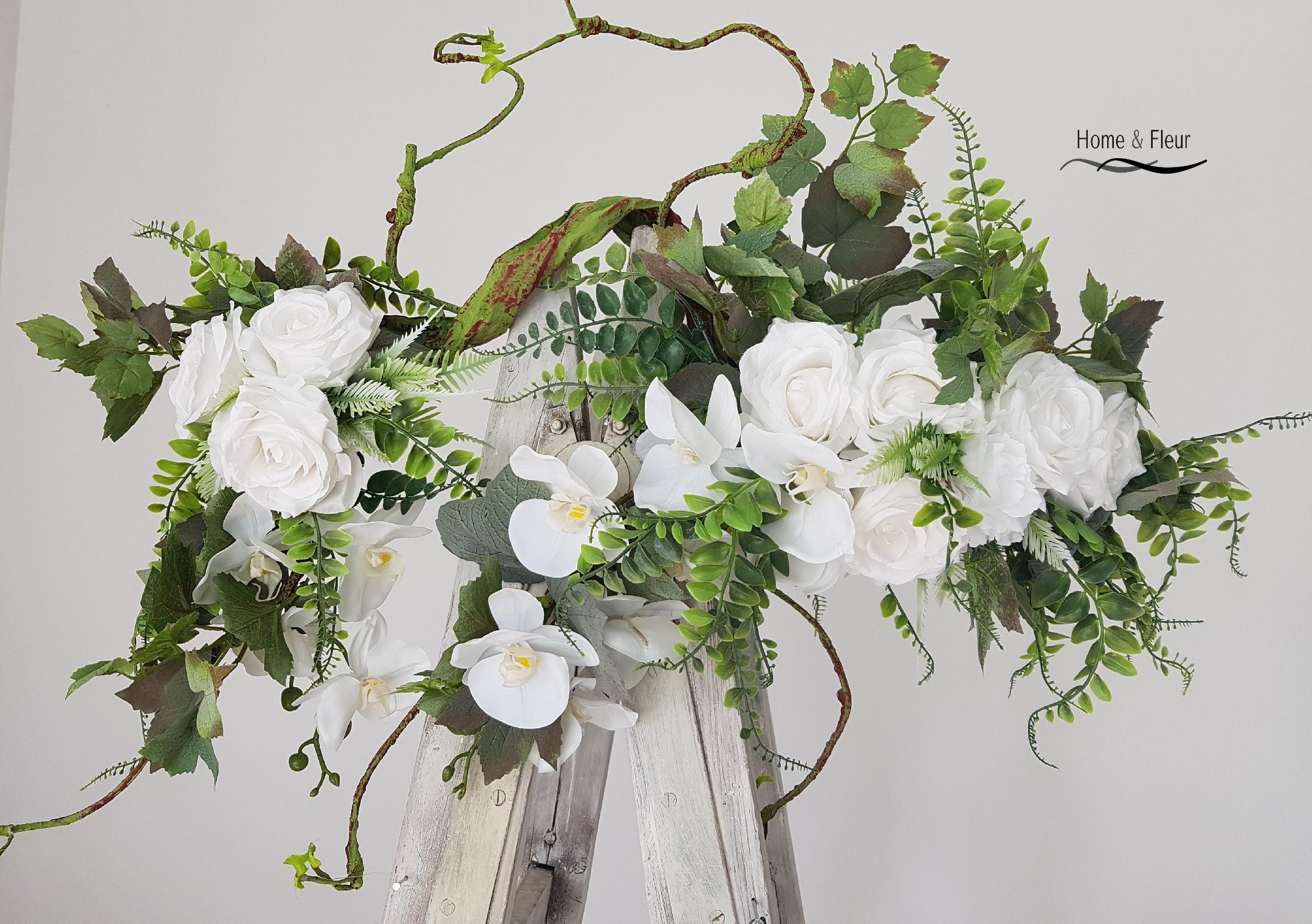 Girlanda Kwiatowa Klasa Premium Biale Dodatki 8064698098 Oficjalne Archiwum Allegro Wreaths Hoop Wreath Decor