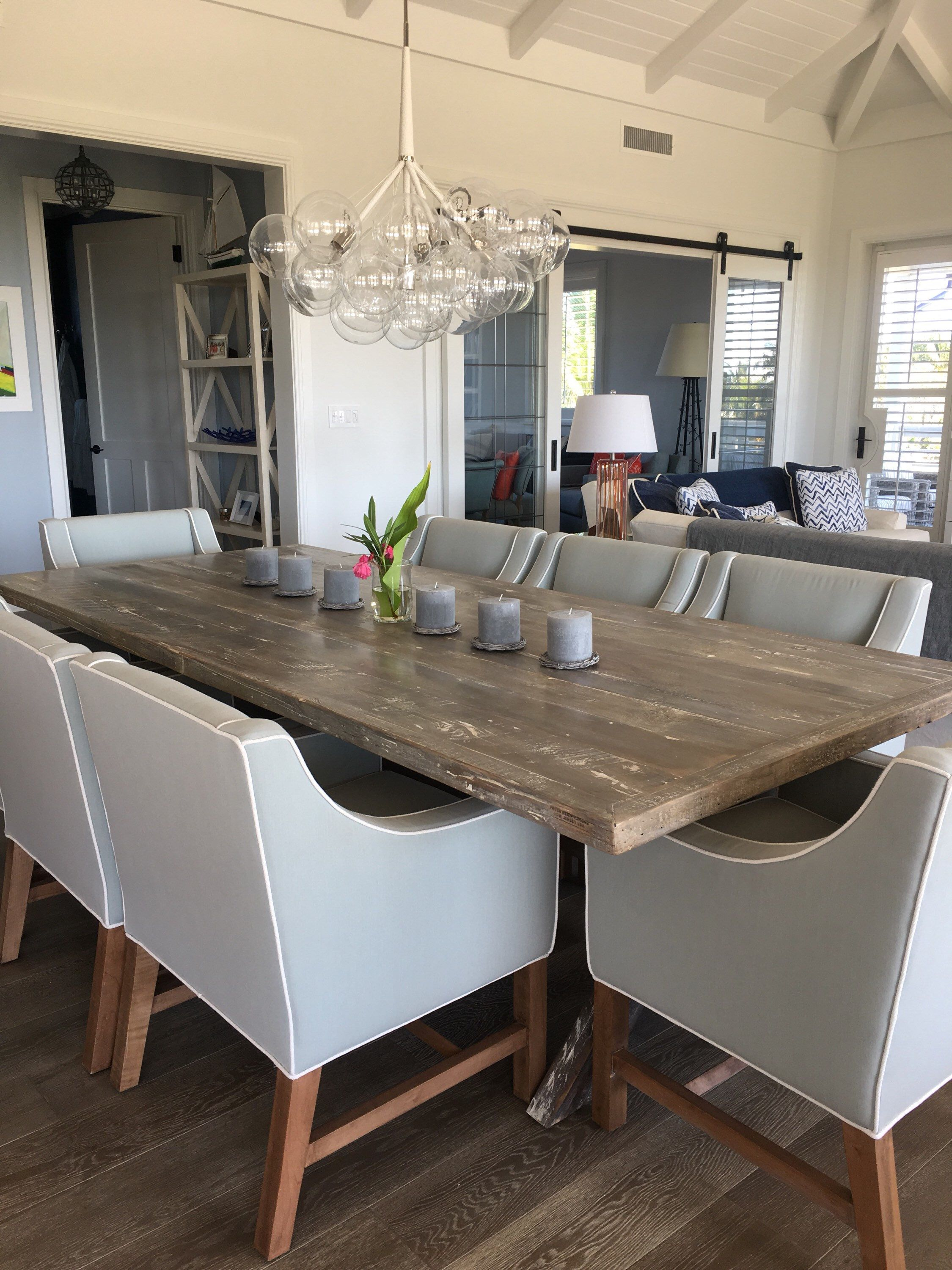 Reclaimed Wood Dining Table X Style Base White Wash Distressed Finish By