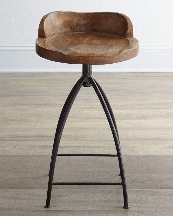 Lovely Henson Wood Iron Swivel Stool