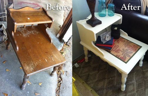 Salvaged end table redone by https://www.etsy.com/shop/KellyBeaner http://www.pinterest.com/beanie1224/