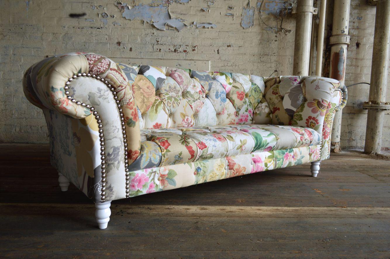 Modern British And Handmade Shabby Chic Patchwork Chesterfield