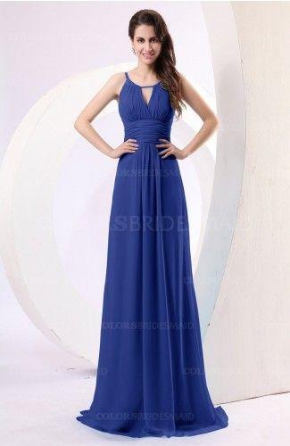 6c5d2dc41146 Electric Blue Simple Column Scoop Chiffon Ruching Bridesmaid Dresses