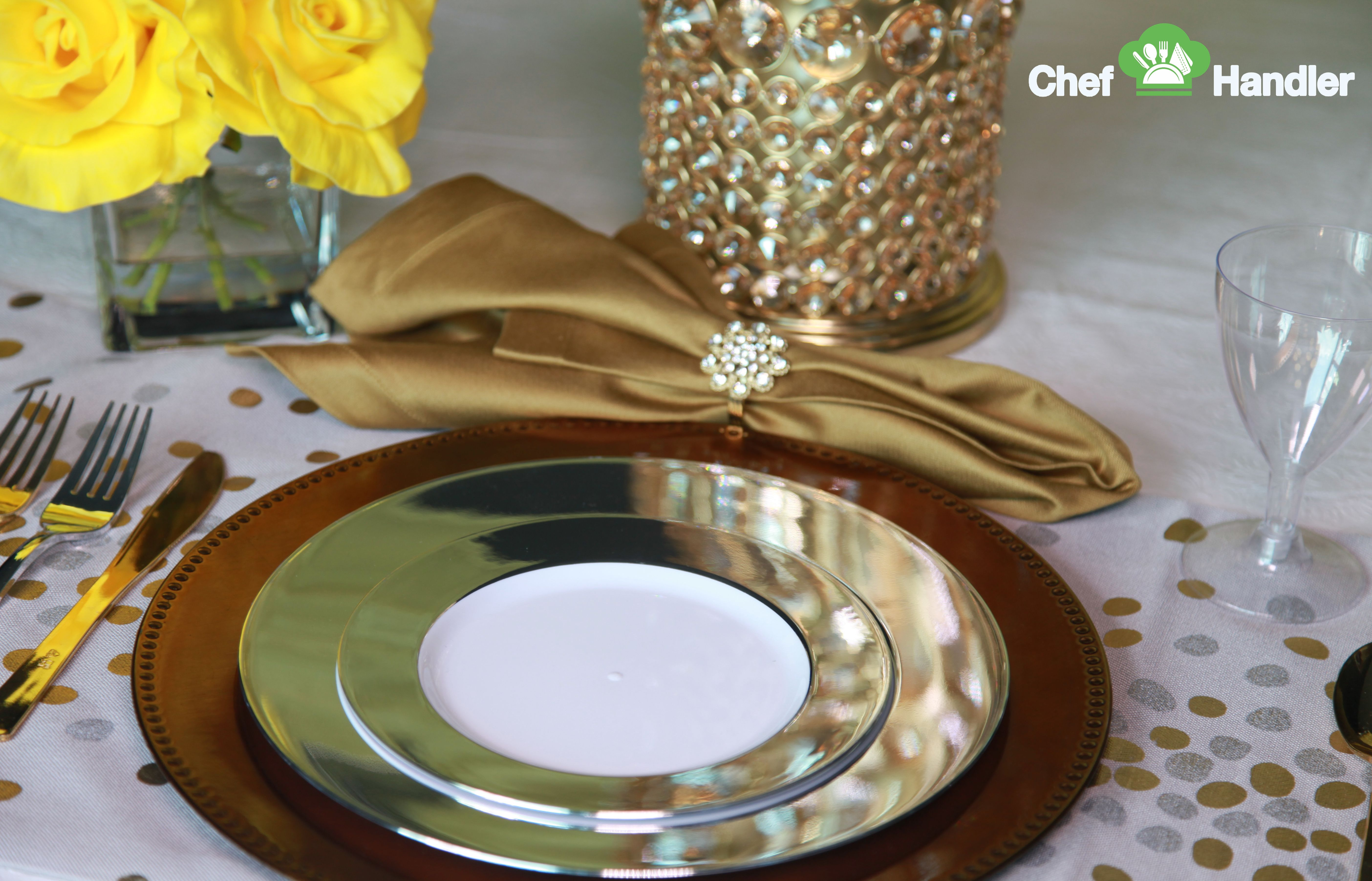Combine the elegant appeal of China with the convenience of plastic with Chef Handler affordable luxury & Opulent Silver Trimmed Fancy 10.25\