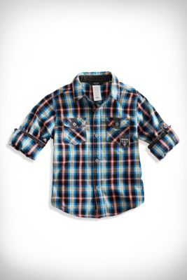 Little Boy Road Warrior Plaid Shirt (2-7) | guess kids