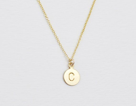 Tiny brass initial personalized gold necklace custom letter tiny brass initial personalized gold necklace custom letter engraved disc on 14k gold filled aloadofball Gallery