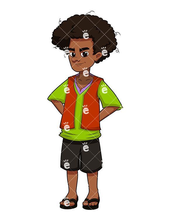 Young Black Man With Afro Hair Cartoon Vector Clipart Friendlystock In 2020 Afro Hairstyles Afro Men Afro