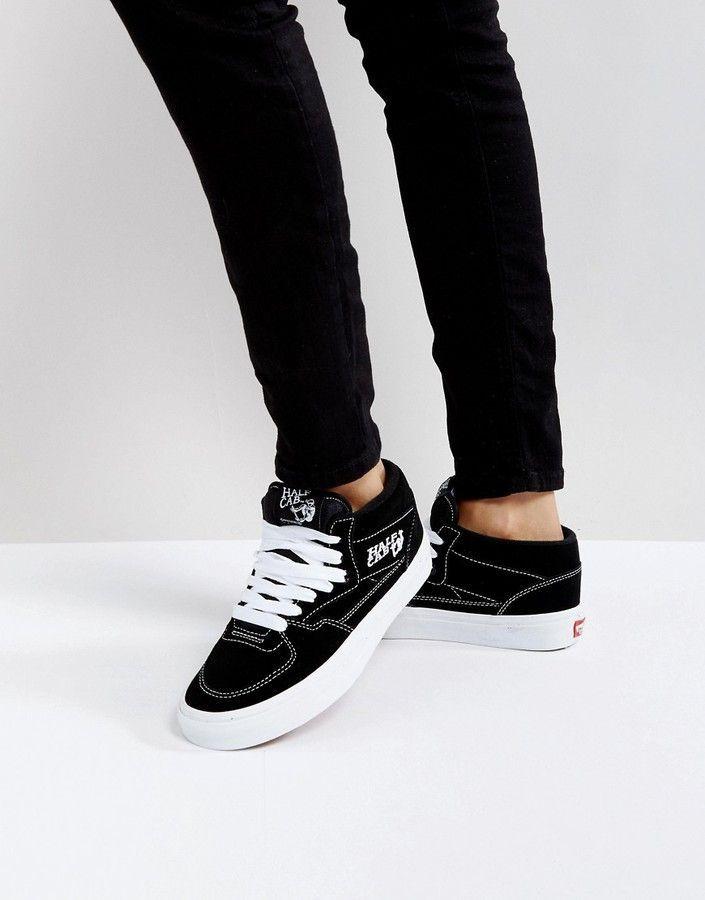 half black half white slip on vans