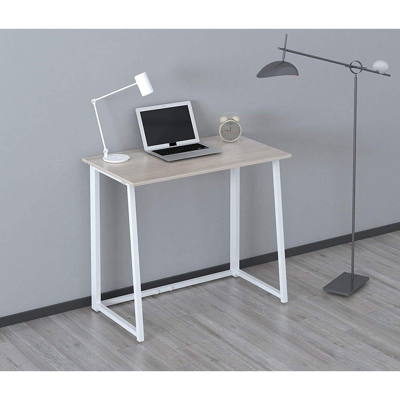 Compact Folding Desk In Natural No Assembly Simple Desk Desk Sleek Desk