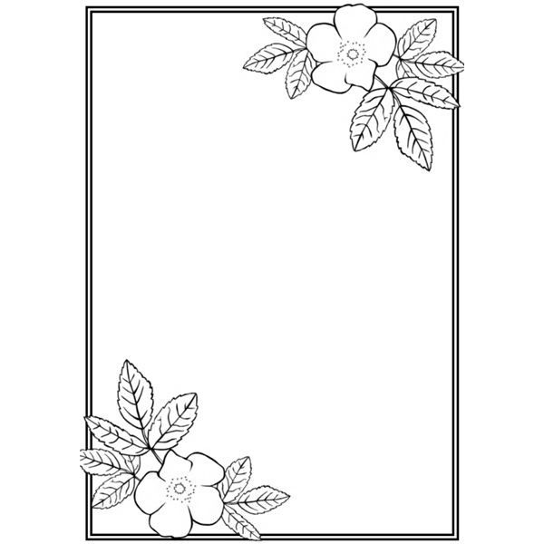 Rose Border Coloring Pages New Coloring Pages Floral Border Design Page Borders Design Flower Border