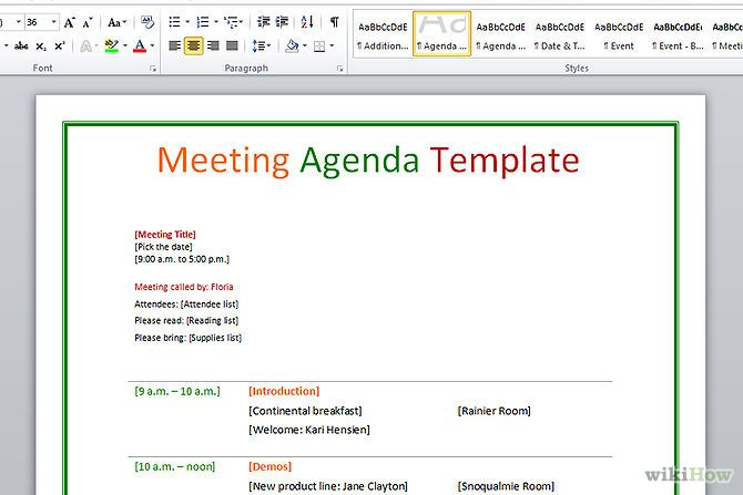 Write An Agenda For A Meeting