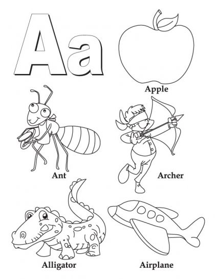my a to z coloring book links to all 26 letters on this site