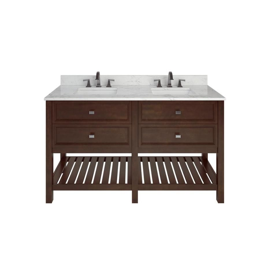 Scott Living Canterbury Mahogany Double Sink Vanity With Natural