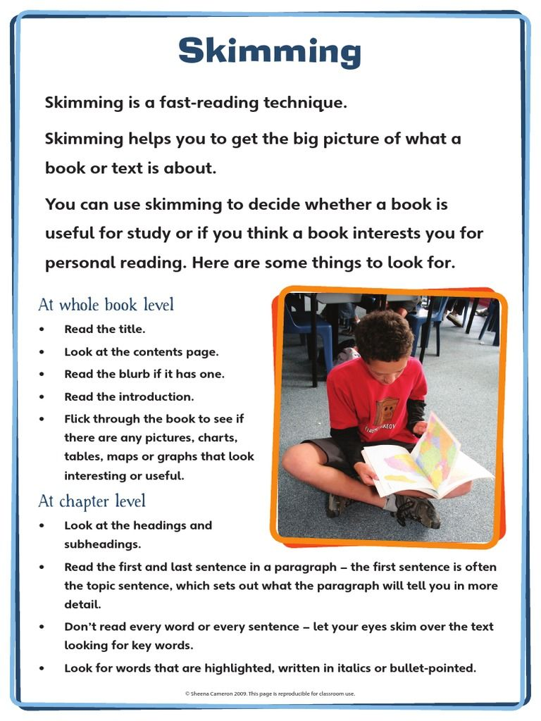 Skimming Poster Reading levels, Reading, Big picture