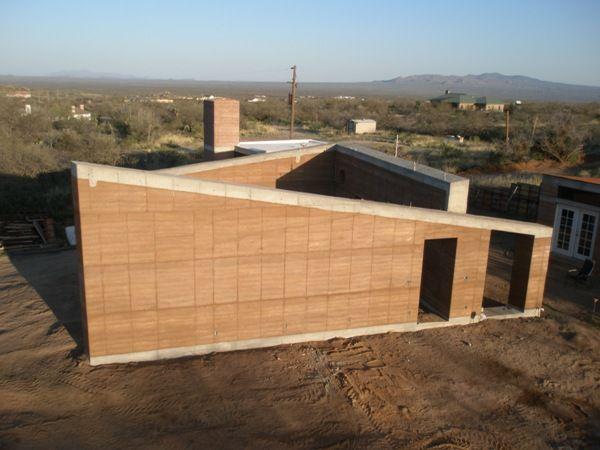 Rammed Earth Solar Home Detailed Construction Photos Rammed
