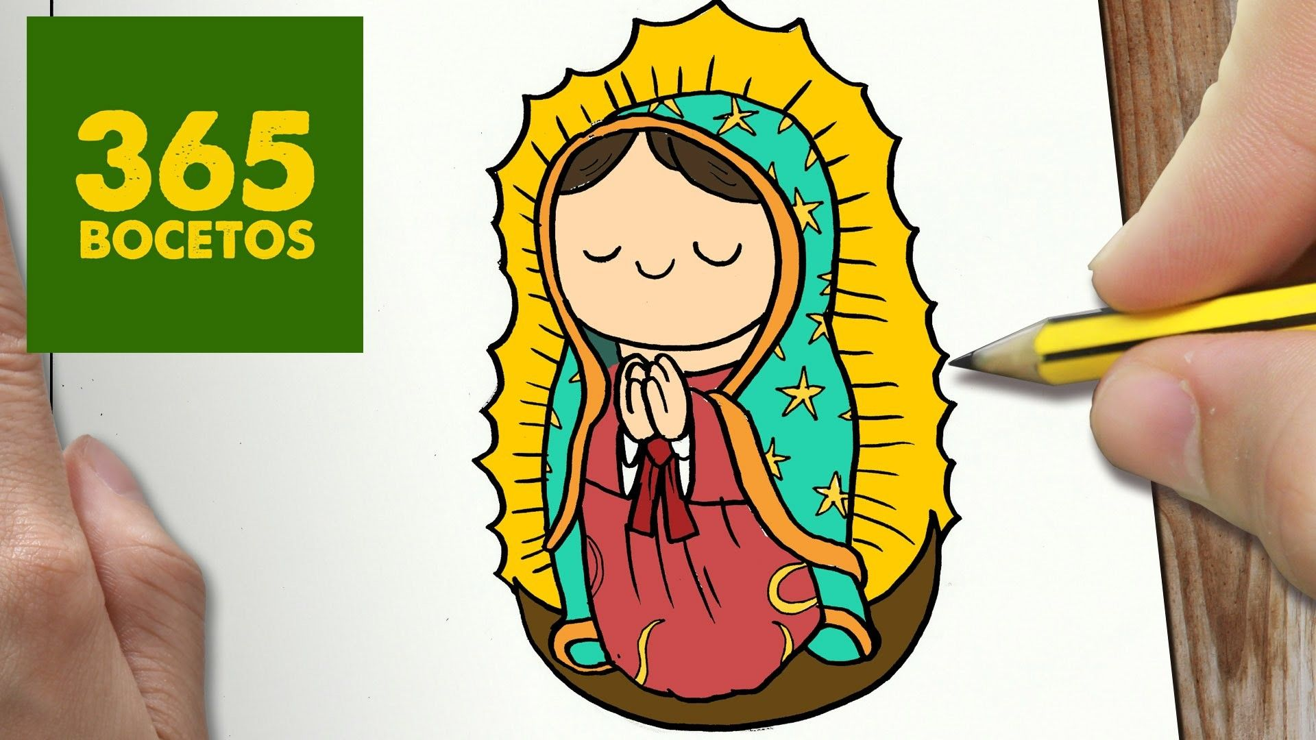 San Antonio En Dibujos Animados: COMO DIBUJAR VIRGEN DE GUADALUPE KAWAII PASO A PASO