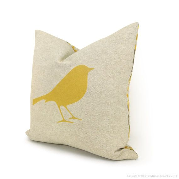 Decorative Pillow Cover Throw Pillow Mustard Yellow Bird Print On Natural Canvas And Geometr Throw Pillows Decorative Pillow Covers Decorative Throw Pillows
