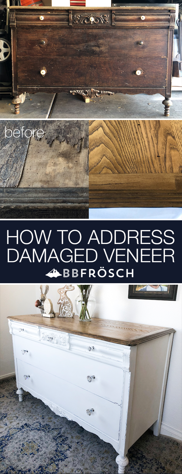 Antique Dresser Makeover + How to Address Damaged Veneer #furnitureredos