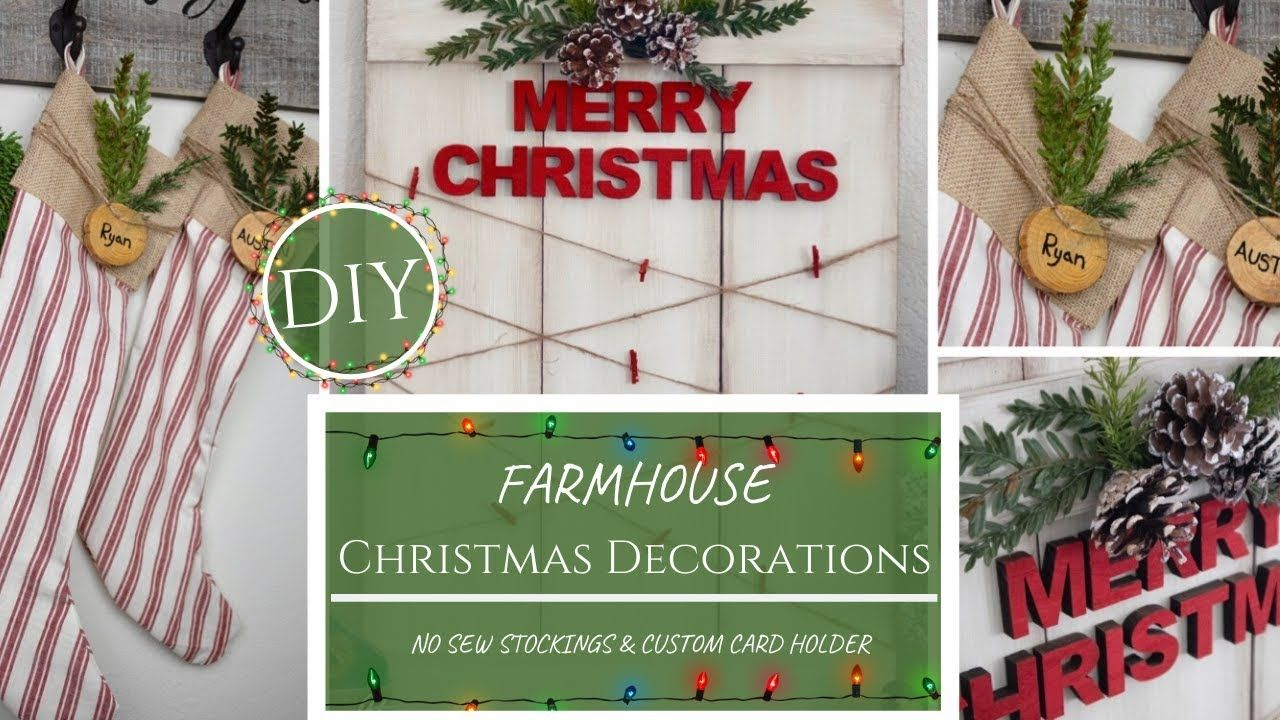 DIY Christmas Decorations NO SEW Farmhouse Stockings and