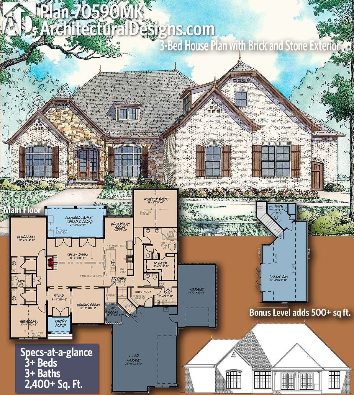 Plan 70590mk 3 Bed House Plan With Brick And Stone Exterior Craftsman House Plans House Plans Country Style House Plans